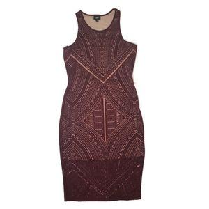 Massimo maroon geometric tribal lace dress small